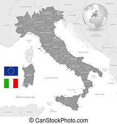 Grey Vector Political Map of Italy with full Region and...