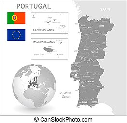 Grey Vector Political Map of Portugal