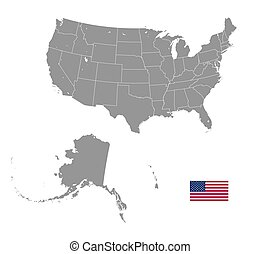 Grey Vector Political Map of USA