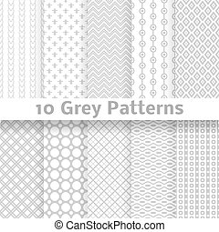 Grey vector seamless patterns (tiling). - 10 Grey vector...