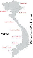 Grey Vietnam map
