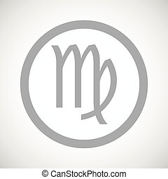 Grey virgo sign icon - Grey virgo zodiac symbol in circle,...