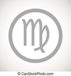 Grey virgo sign icon - Grey virgo zodiac symbol in circle,...