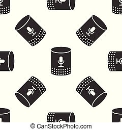 Grey Voice assistant icon isolated seamless pattern on white background. Voice control user interface smart speaker. Vector Illustration
