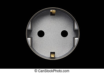 grey wall plug isolated at black background
