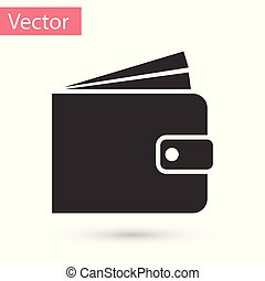 Grey Wallet icon isolated on white background. Vector Illustration