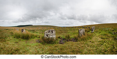 A panoramic view of the Grey Wethers Stone circle near Postbridge on a remote part of Dartmoor National Park in Devon
