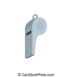 Grey whistle icon, flat style