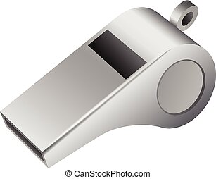 Grey whistle icon, realistic style