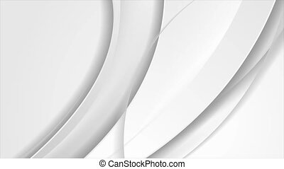 Grey white smooth glossy waves abstract elegant motion background