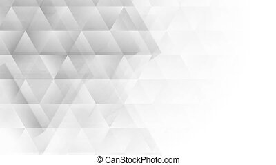 Grey white tech polygon triangles motion background.