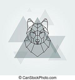 Grey wolf head. - Geometric vector animal grey wolf head...