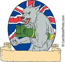 Grey Wolf Holding Bomb Union Jack Drawing