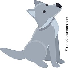 Grey wolf icon, cartoon style