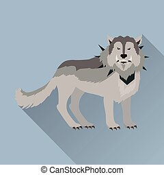 Grey Wolf in the Collar