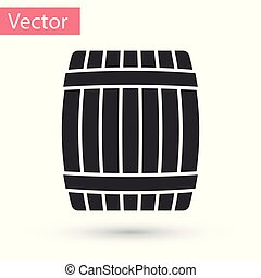 Grey Wooden barrel icon isolated on white background. Vector Illustration