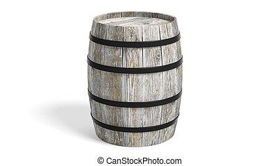 Grey wooden barrel