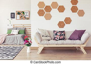 Grey wooden sofa