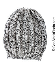 Grey wool hat isolated on white background.
