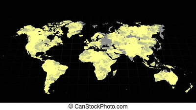 Grey world map changing to mostly yellow on a black background