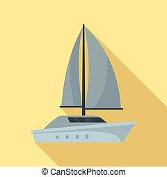 Grey yacht icon, flat style