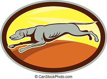 Greyhound Dog Jumping Side Oval Cartoon