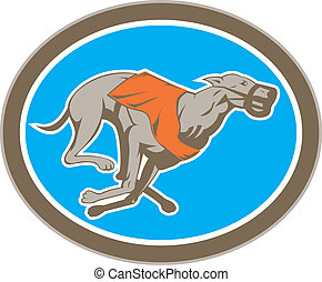 Greyhound Dog Racing Circle Retro