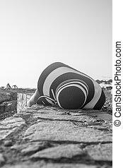 greyscale, avbild, kvinna, strand, lögnaktig