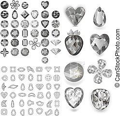 Greyscale gems set isolated on white background, vector...