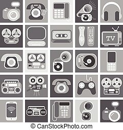 greyscale, hogar, electrónico, iconos