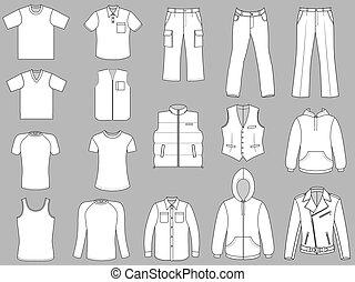greyscale, hombre, colección, ropa