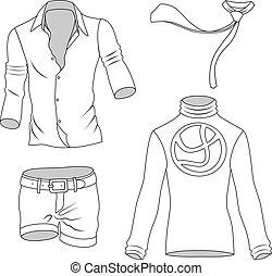 greyscale, uomo, collezione, vestiti