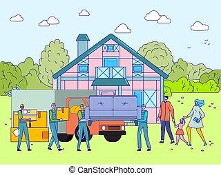 gribende hus, familie, vektor, illustration, glade, egentlig estate, sammen, nye, købe, folk, egendom