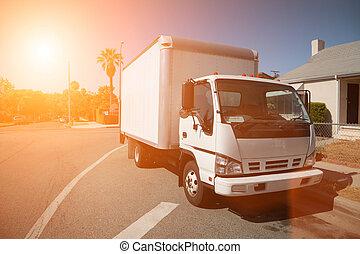 gribende lastbil, på, gade
