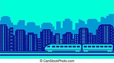 gribende, tog, på, blå, urban, landscaping