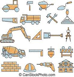 gribouillé, ensemble construction, icône