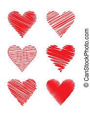 gribouillé, (vector), cœurs
