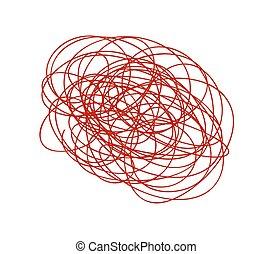 gribouiller, lignes, rouges