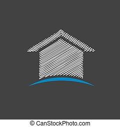 gribouiller, maison, conception, logo