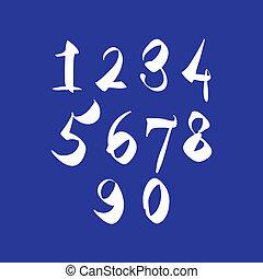 gribouiller, nombres, vecteur, frais, manuscrit, brossé, figures.