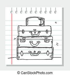 gribouiller, valises