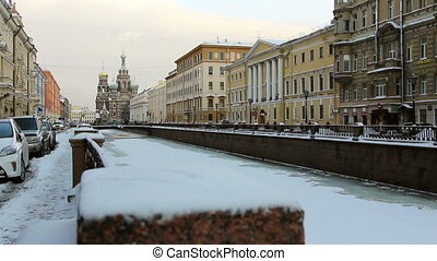 Griboyedov Canal in winter - Griboyedov Canal and Church of...