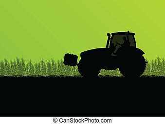 griculture, kraj, ilustracja, traktory, pole, wektor, tło, ...