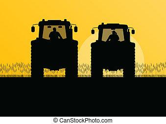 griculture, land, abbildung, traktoren, feld, vektor, ...