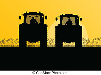 griculture tractors in cultivated country field landscape background illustration vector