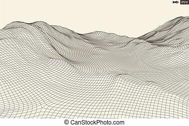 grid., 抽象的な風景, サイバースペース, ベクトル, 3d, バックグラウンド。, illustration., 技術