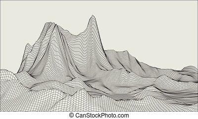 grid., abstrakte landschaft, cyberspace, vektor, 3d, ...
