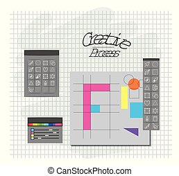 grid background with design environment with color palette and tool box for designer graphic creative process