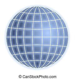 abstract blue globe with grid lines isolated on white