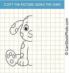 grid, komplet, kopi, uddannelses, cute, boldspil, boldspil, hund, sitting., billede, dalmatian, børn